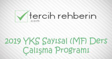 2019 YKS Sayısal (MF) Ders Çalışma Programı